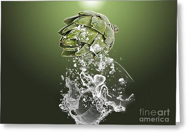 Artichoke Splash Greeting Card by Marvin Blaine