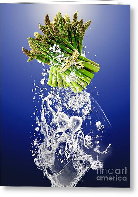 Asparagus Splash Greeting Card by Marvin Blaine
