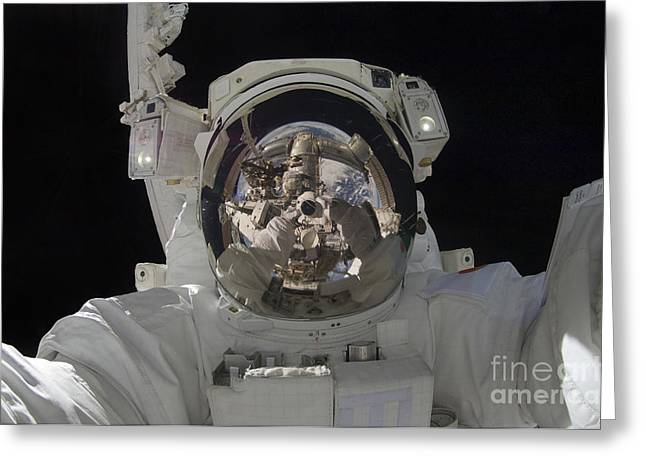 Self View Greeting Cards - Astronaut Uses A Digital Still Camera Greeting Card by Stocktrek Images