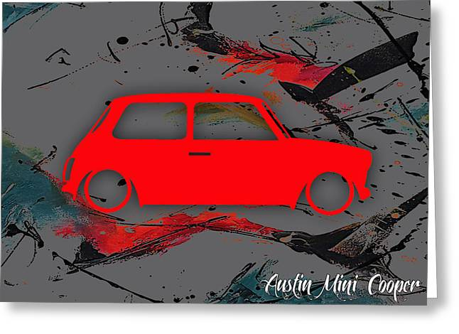Cars Greeting Cards - Austin Mini Cooper Greeting Card by Marvin Blaine