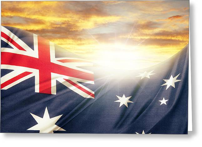 Flags Flying Greeting Cards - Australian flag Greeting Card by Les Cunliffe