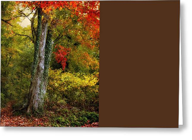 Fantasy Tree Greeting Cards - Autumn Ablaze Greeting Card by Jessica Jenney