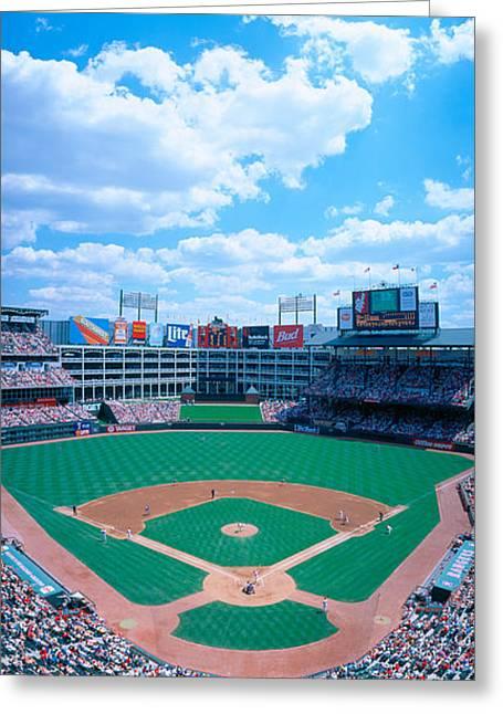 Baseball Game Photographs Greeting Cards - Baseball Stadium, Texas Rangers V Greeting Card by Panoramic Images