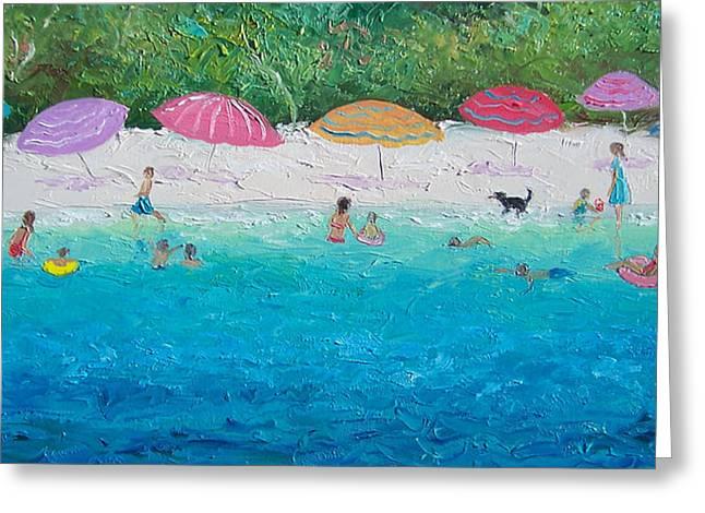 People On Beach Greeting Cards - Beach Umbrellas Greeting Card by Jan Matson