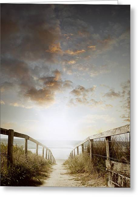 Lighted Pathway Greeting Cards - Beach walkway Greeting Card by Les Cunliffe