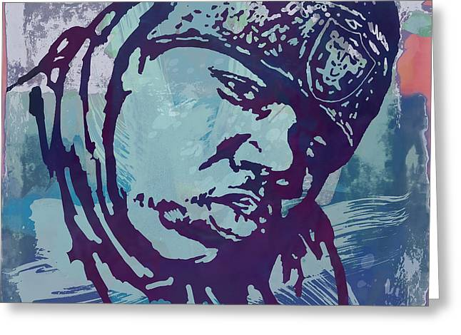 Biggie Smalls Modern Etching Art Poster Greeting Card by Kim Wang
