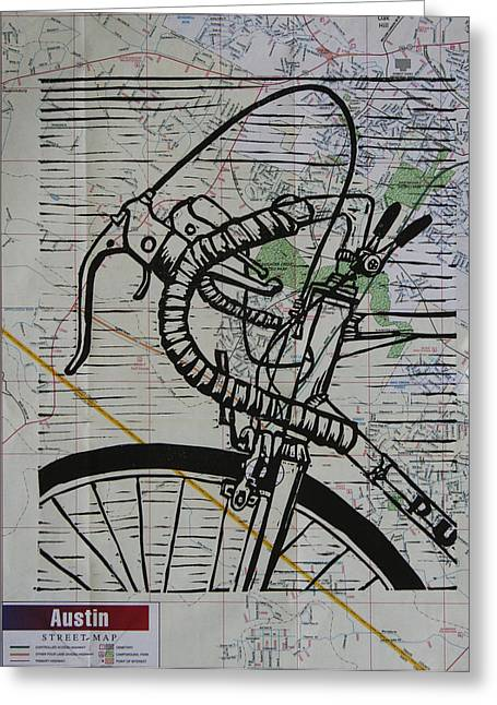Linoluem Greeting Cards - Bike 2 on Map Greeting Card by William Cauthern