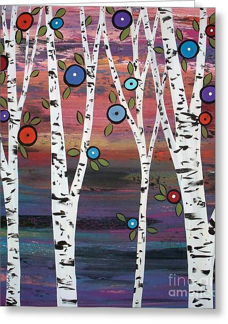 Prints For Sale Paintings Greeting Cards - 4 Birches Greeting Card by Karla Gerard