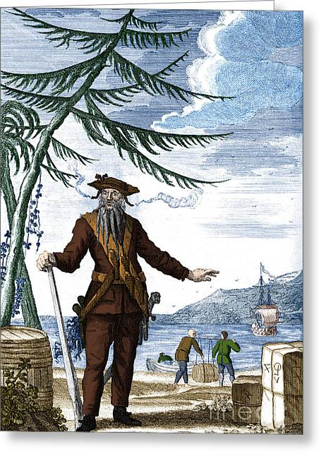 Blackbeard, Edward Teach, English Pirate Greeting Card by Science Source