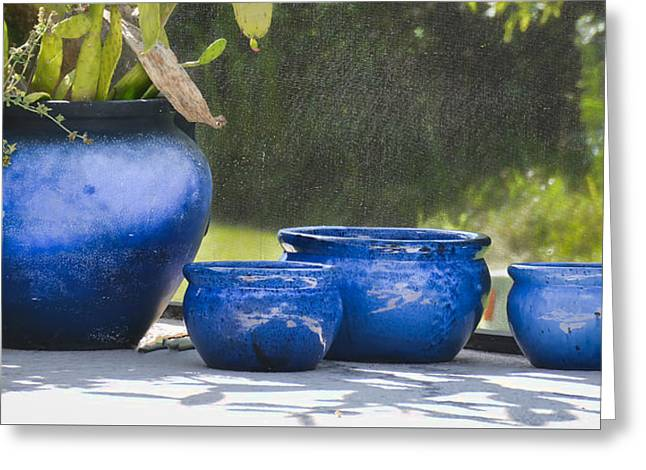 Concrete Planter Greeting Cards - 4 ceramic Blue Pots Greeting Card by Greg Jackson