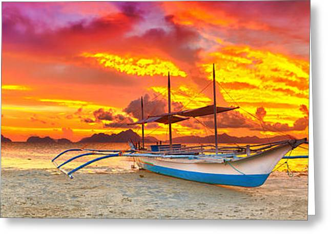 Beautiful Scenery Greeting Cards - Boat at sunset Greeting Card by MotHaiBaPhoto Prints