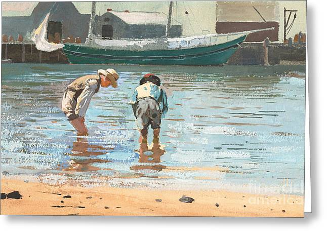 Boys Wading Greeting Card by Winslow Homer