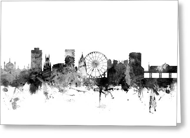 Cityscape Digital Art Greeting Cards - Brighton England Skyline Greeting Card by Michael Tompsett