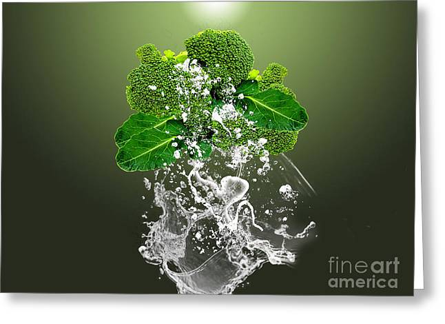 Broccoli Splash Greeting Card by Marvin Blaine