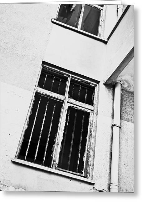 White Photographs Greeting Cards - Broken window Greeting Card by Tom Gowanlock