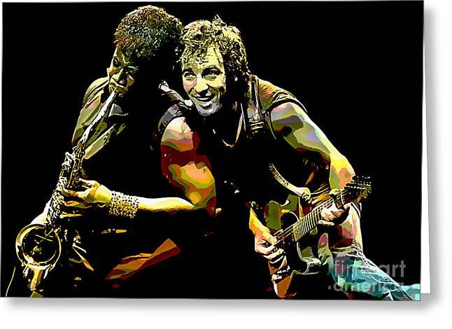 Bruce Springsteen Clarence Clemons Greeting Card by Marvin Blaine
