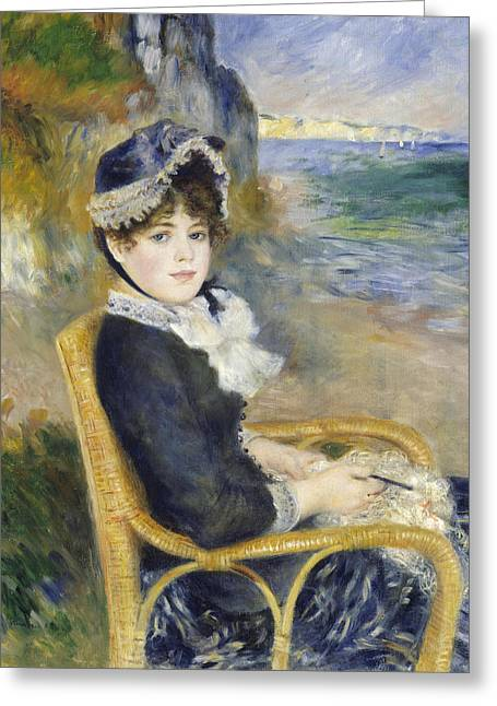 By The Seashore Greeting Card by Pierre Auguste Renoir