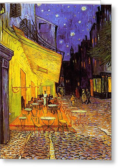 Art Prints Greeting Cards - Cafe Terrace At Night Greeting Card by Vincent Van Gogh