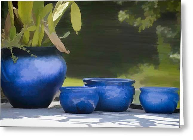 Concrete Planter Greeting Cards - 4 ceramic Blue Pots - water color effect Greeting Card by Greg Jackson