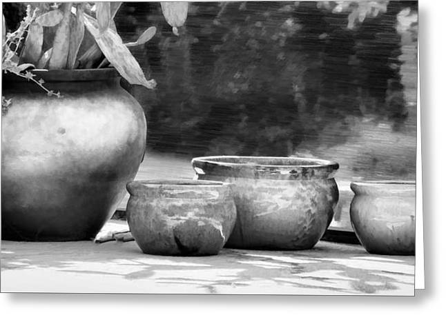 Concrete Planter Greeting Cards - 4 Ceramic Pots in Black and White Greeting Card by Greg Jackson