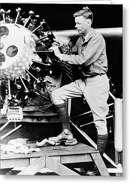 Black Boots Greeting Cards - Charles Lindbergh Greeting Card by American School