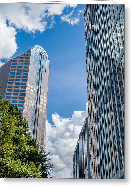 Modern Photographs Greeting Cards - Charlotte Nc Skyline And Street Scenes During Day Time Greeting Card by Alexandr Grichenko