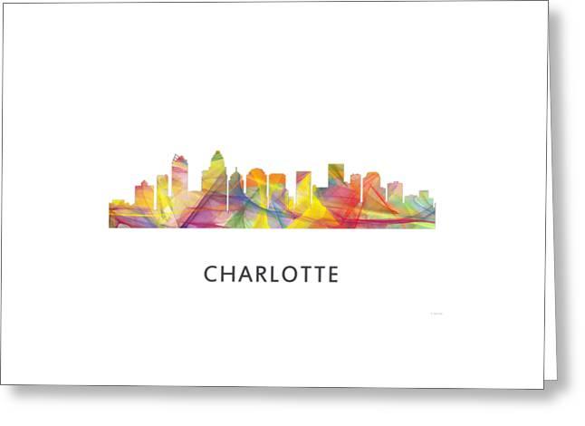 Charlotte Greeting Cards - Charlotte NC Skyline Greeting Card by Marlene Watson
