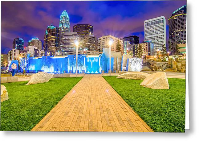 Charlotte Greeting Cards - Charlotte North Carolina City Skyline And Downtown Greeting Card by Alexandr Grichenko