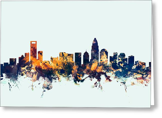 Charlotte Posters Greeting Cards - Charlotte North Carolina Skyline Greeting Card by Michael Tompsett
