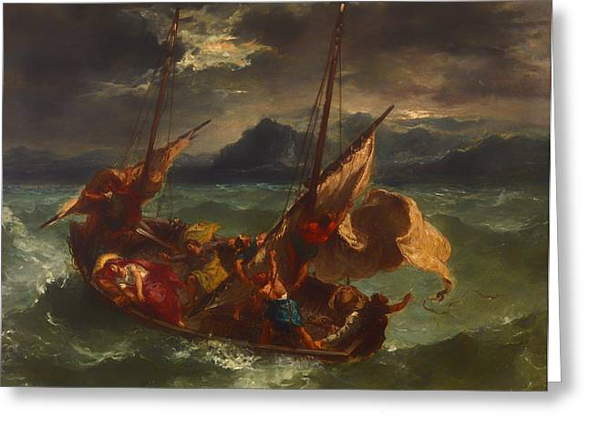 Choppy Water Greeting Cards - Christ on the Sea of Galilee Greeting Card by Eugene Delacroix