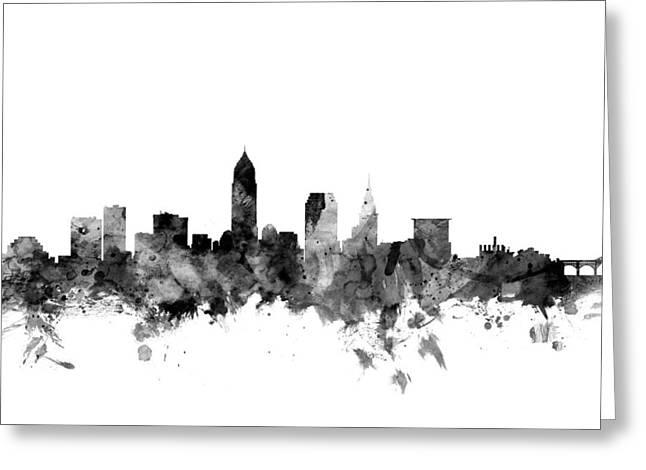 Cleveland Skyline Greeting Cards - Cleveland Ohio Skyline Greeting Card by Michael Tompsett