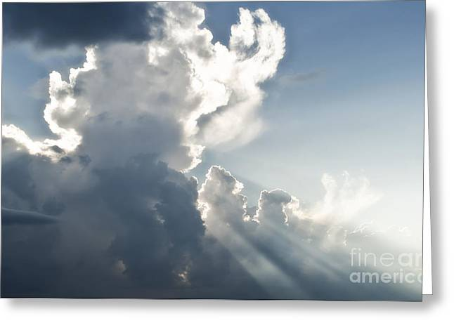Beyond Greeting Cards - Cloudy sky with sun rays Greeting Card by Blink Images