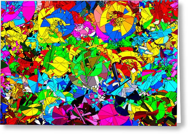 Abstract Digital Paintings Greeting Cards - Colorful Abstract Mural Greeting Card by Bruce Nutting