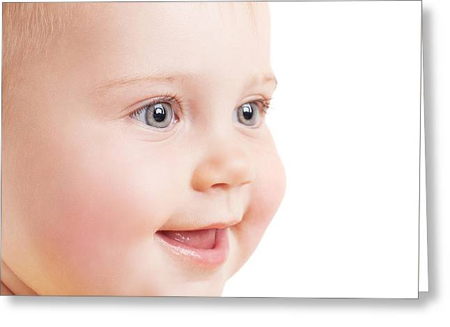 Person Greeting Cards - Cute baby portrait Greeting Card by Anna Omelchenko