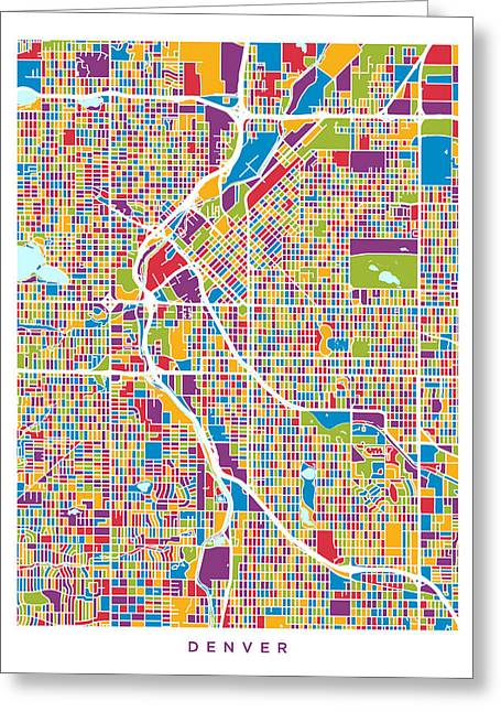 Colorado Posters Greeting Cards - Denver Colorado Street Map Greeting Card by Michael Tompsett