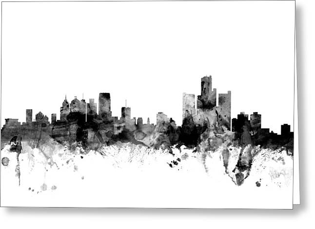 Detroit Digital Art Greeting Cards - Detroit Michigan Skyline Greeting Card by Michael Tompsett