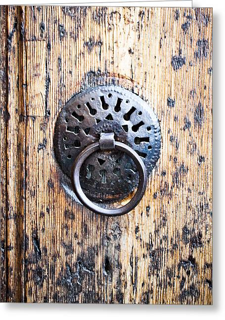 Ornate Pattern Greeting Cards - Door handle Greeting Card by Tom Gowanlock