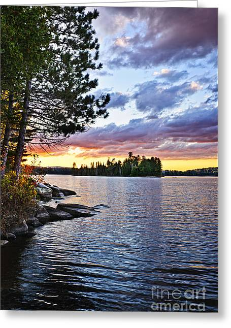 River View Greeting Cards - Dramatic sunset at lake Greeting Card by Elena Elisseeva
