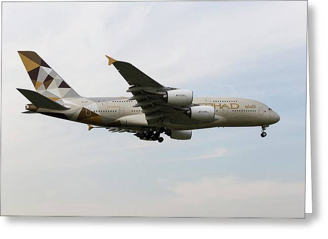Etihad Airbus A380 Greeting Card by David Pyatt