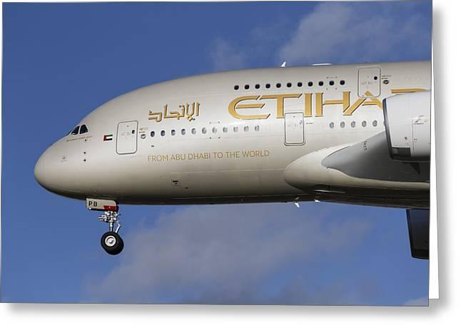 Etihad Airlines Airbus A380 Greeting Card by David Pyatt
