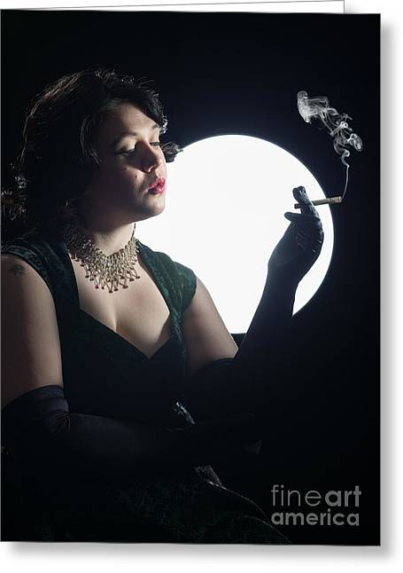 Film Noir Smoking Woman Greeting Card by Amanda And Christopher Elwell