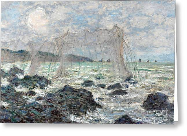 Vintage Painter Greeting Cards - Fishing nets at Pourville Greeting Card by Claude Monet