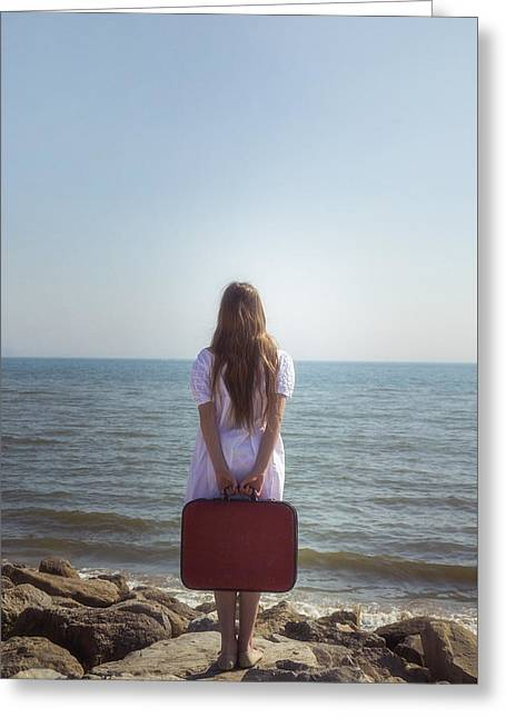 Anonymous Greeting Cards - Girl With Suitcase Greeting Card by Joana Kruse