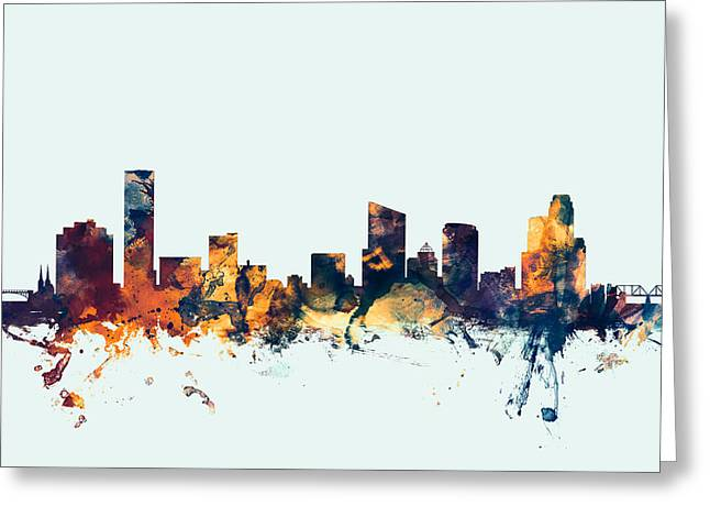 Grand Rapids Michigan Skyline Greeting Card by Michael Tompsett