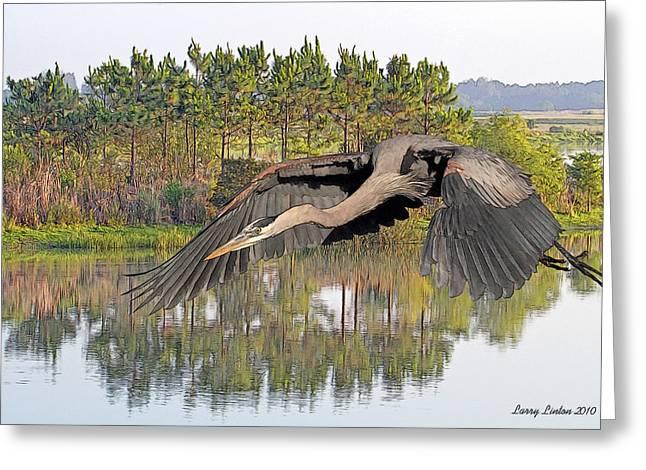 Great Blue Heron Digital Art Greeting Cards - Great Blue Heron Greeting Card by Larry Linton