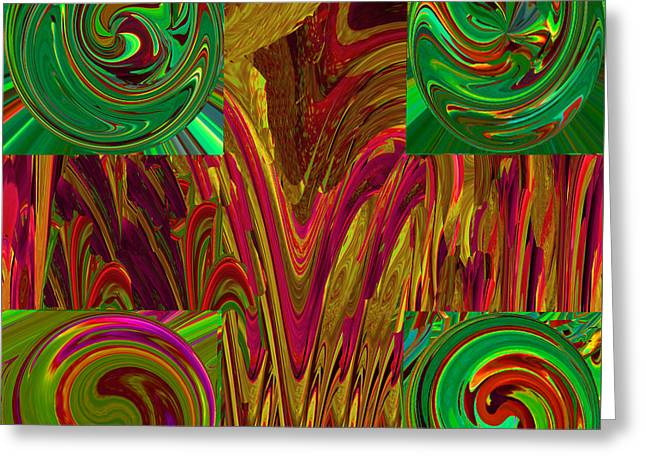 Abstract Movement Greeting Cards - 4 Green Corners Greeting Card by Phillip Mossbarger
