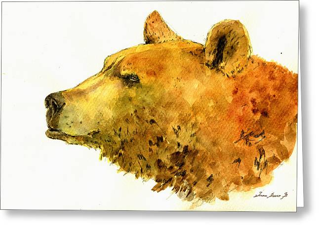 Grizzlies Greeting Cards - Grizzly bear watercolor painting Greeting Card by Juan  Bosco