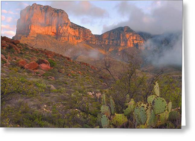 Guadalupe Greeting Cards - Guadalupe Mountains Sunrise Greeting Card by Stephen  Vecchiotti