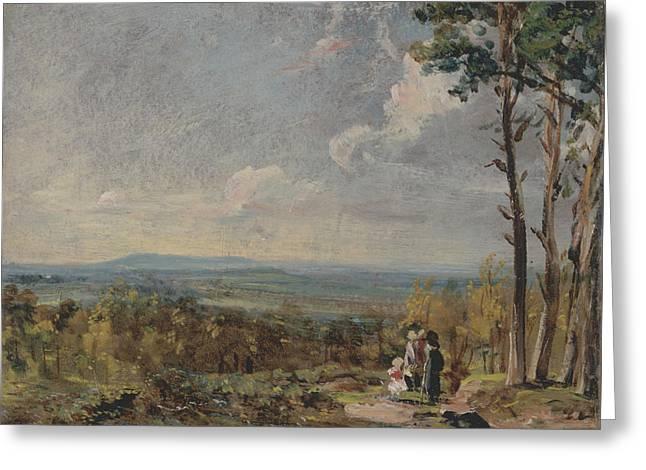 Hampstead Heath Looking Towards Harrow Greeting Card by John Constable