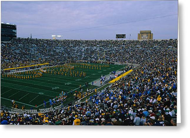 University Of Notre Dame Greeting Cards - High Angle View Of A Football Stadium Greeting Card by Panoramic Images